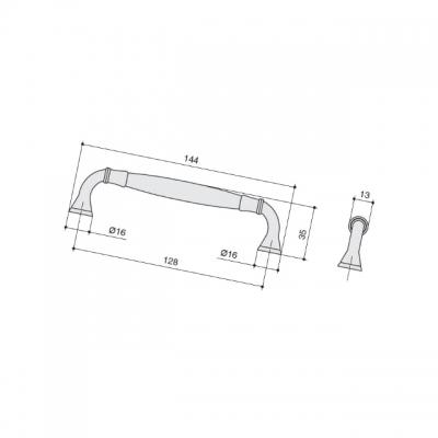 Ручка-скоба 128мм, отделка бронза матовая M318.128.BAB