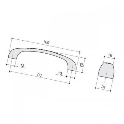 Ручка-скоба 96мм, отделка хром глянец M1011.96.CP