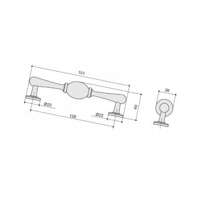 Ручка-скоба 128мм, отделка черный матовый + керамика JL6116.128.BL-K10