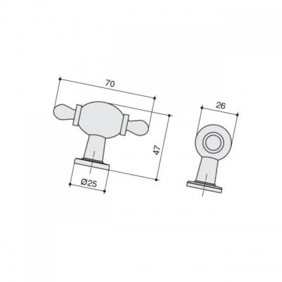 Ручка-кнопка, отделка черный матовый + керамика JL6116.K.BL-K10
