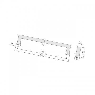 Ручка-скоба 160мм, отделка черный матовый лакированный 230.001-160-9619
