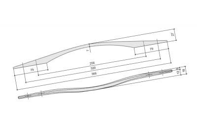 Ручка-скоба 320-256мм, отделка хром глянец 8.1122.320256.40KT