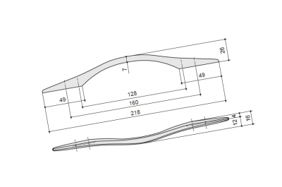 Ручка-скоба 160-128мм, отделка хром глянец 8.1122.160128.40KT
