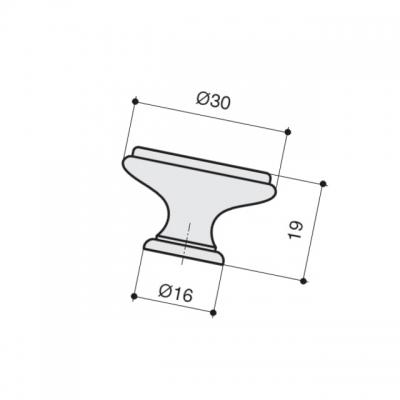 Ручка-кпопка, отделка хром глянец + керамика P77.Y00.M2.MCLG