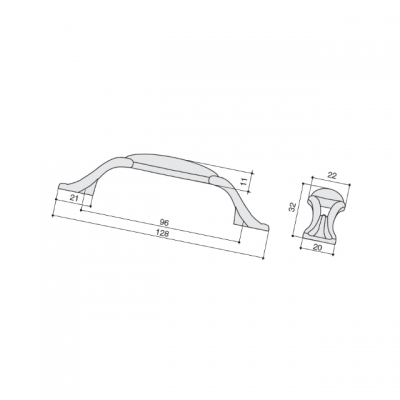 Ручка-скоба 96мм, отделка хром глянец + керамика M93.X00.M2.MCLG