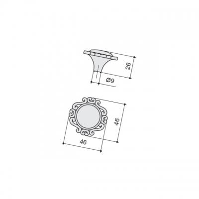 Ручка-кпопка, отделка хром глянец + керамика P41.Y00.M2.MCLG