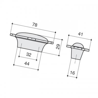 Ручка-кнопка, отделка хром глянец + керамика P40.X00.M2.MCLG