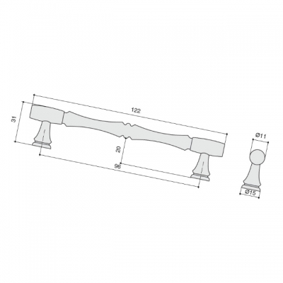 Ручка-скоба 96мм, отделка медь античная кантри WMN.766X.096.M00C1
