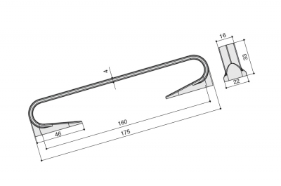 Ручка-скоба 160мм, отделка железо античное 2Z272.BZA160PG