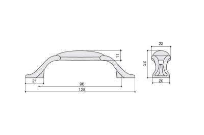 """M93.X01.M3.MD1G Ручка-скоба 96мм, отделка бронза античная """"Флоренция"""" + керамика"""