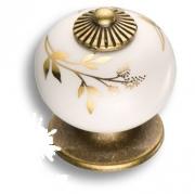 3020-013-178 Ручка кнопка керамика с металлом, цвет белый с золотым орнаментом