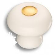 3030-003-000 Ручка кнопка керамика с металлом, цвет белый