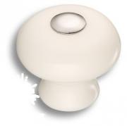 3030-005-000 Ручка кнопка керамика с металлом, цвет белый