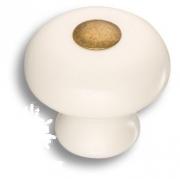 3030-013-000 Ручка кнопка керамика с металлом, цвет белый
