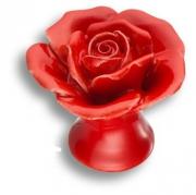 3060-RED Ручка кнопка в форме розы, керамика ручной работы, цвет красный