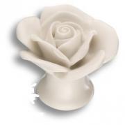 3060-WHITE Ручка кнопка в форме розы, керамика ручной работы, цвет белый