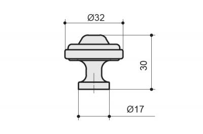 KB-M-3804-32-E Ручка-кнопка, отделка бронза английская