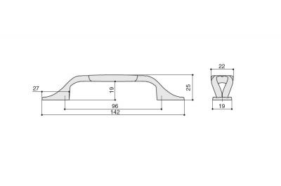 """M81.X01.00.MR8G Ручка-скоба 96мм, отделка золото матовое """"Милан"""" + керамика"""