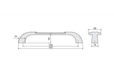 M78.X00.00.ME8G Ручка-скоба 128мм, отделка серебро с блеском + керамика
