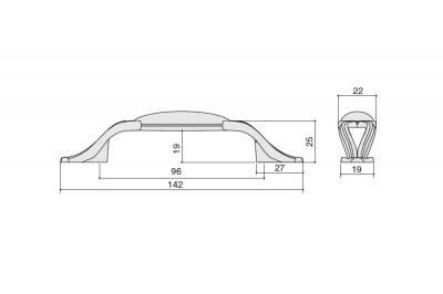 """M81.X01.S1.MD1G Ручка-скоба 96мм, отделка бронза античная """"Флоренция"""" + керамика"""