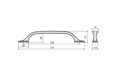HN-M-4148-128-BC Ручка-скоба 128мм, отделка медь