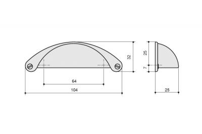 1761-103ZN75 Ручка-скоба 64мм, отделка железо
