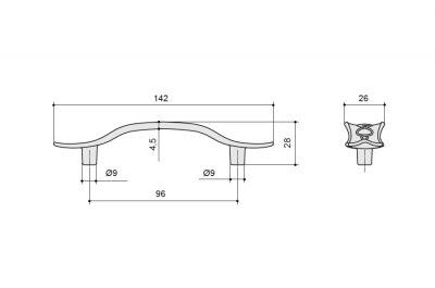 1034C/19/O Ручка-скоба 96мм, отделка олово античное