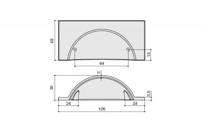 HN-M-3981-64-BSN Ручка-ракушка 64мм, отделка никель шлифованный