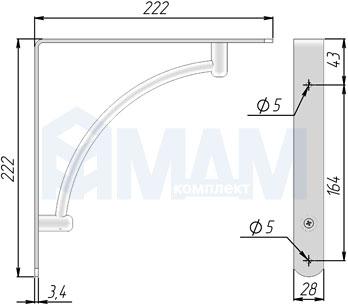 SU40A-MCR Менсолодержатель для деревянных полок L-220 мм, хром матовый