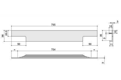 408020795-76.1 Ручка врезная 795мм, отделка черный шлифованный