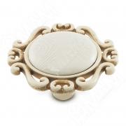 WPO.41.01.G9.000.V5 Ручка-кнопка cлоновая кость/золото винтаж, керамика белые узоры
