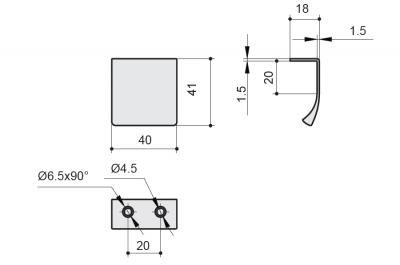 419720040-87.1 Ручка-профиль накладная L.40мм, отделка медь шлифованная