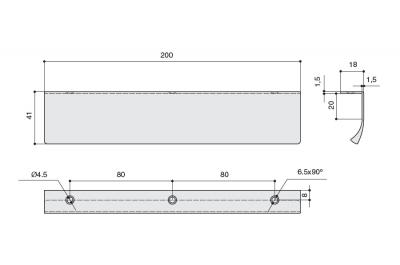 419720200-87.1 Ручка-профиль накладная L.200мм, отделка медь шлифованная