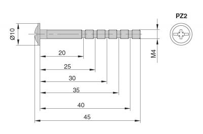 SCU.M4*45.YZ Винт универсальный М4х45мм, отделка желтый цинк