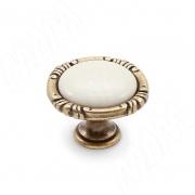 WPO.48.01.00.000.D1 Ручка-кнопка бронза состаренная/керамика молочная