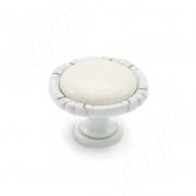 WPO.48.01.00.000.V4 Ручка-кнопка белый/серебро винтаж керамика молочная