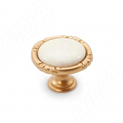 WPO.48.01.00.000.R8 Ручка-кнопка золото матовое Милан/керамика молочная