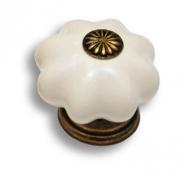 483JO Ручка кнопка керамика с металлом, цвет белый