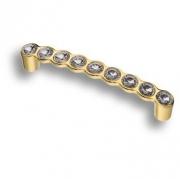 492-128-Gold Ручка скоба с кристаллами, глянцевое золото 128 мм