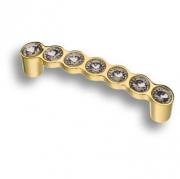 492-96-Gold Ручка скоба с кристаллами, глянцевое золото 96 мм