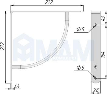 SU50A-CR Менсолодержатель для деревянных полок L-220 мм, хром