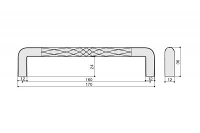 S543160160-91 Ручка-скоба 160мм, отделка антрацит шлифованный