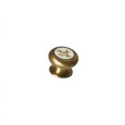 Ручка-кнопка, отделка бронза шлифованная + вставка 14315