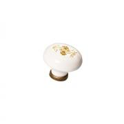 Ручка-кнопка, отделка бронза старая + керамика P03.01.208.02