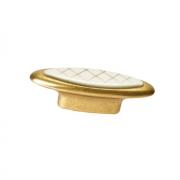 Ручка-кнопка 32мм, отделка бронза античная французская + вставка 10.808.B25-104
