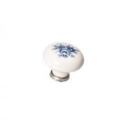 Ручка-кнопка, отделка серебро старое + керамика P03.01.69.15