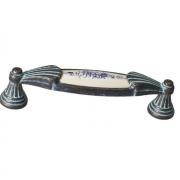 Ручка-скоба 96мм, отделка серебро чернёное c лазуритом + керамика M28X.01.45.MC3G