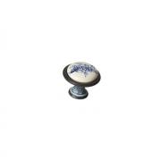 Ручка-кнопка, отделка серебро чернёное c лазуритом + керамика P08.Y01.45.MC3G