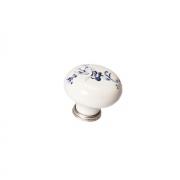 Ручка-кнопка, отделка серебро старое + керамика P03.01.25.15