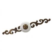 Ручка-кнопка с накладкой, отделка бронза античная + керамика 7-838.32
